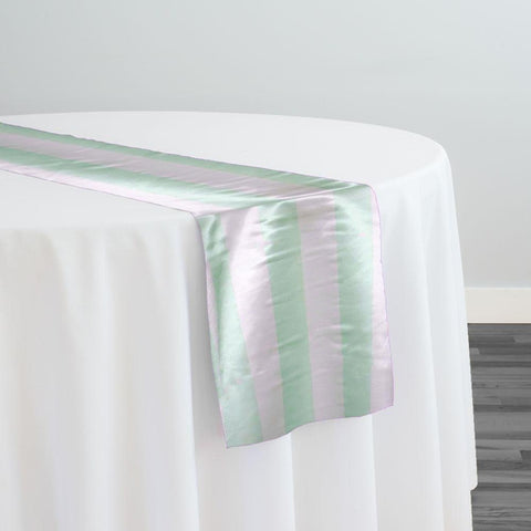 "2"" Satin Stripe Table Runner in White and Mint"