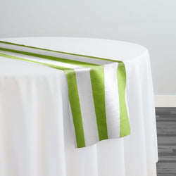 "2"" Satin Stripe Table Runner in White and Moss"