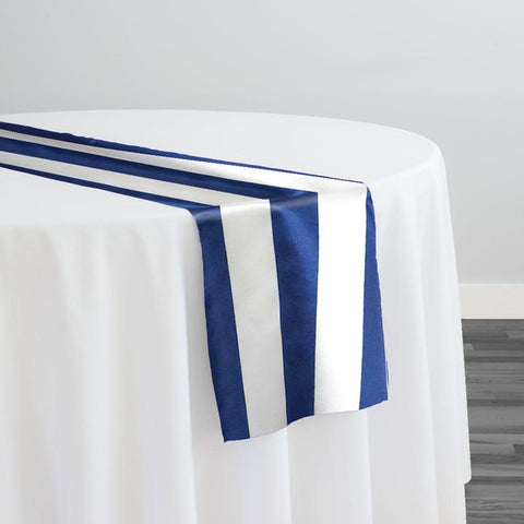 "2"" Satin Stripe Table Runner in White and Navy"