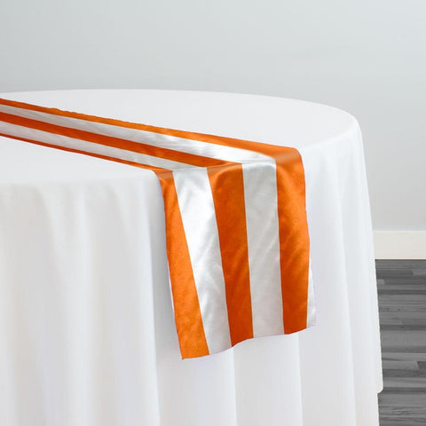 "2"" Satin Stripe Table Runner in White and Orange"