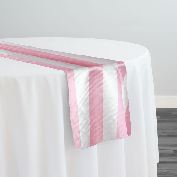 "2"" Satin Stripe Table Runner in White and Pink"