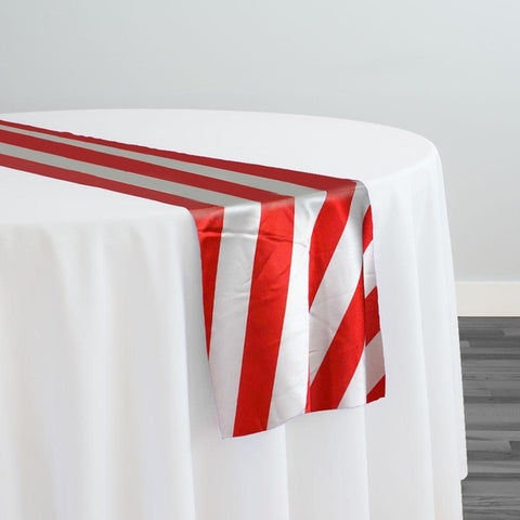 "2"" Satin Stripe Table Runner in White and Red"