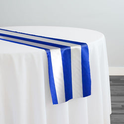 "2"" Satin Stripe Table Runner in White and Royal"