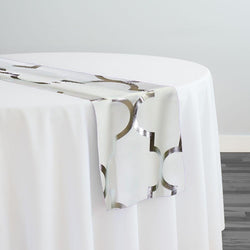 Gatsby (Metallic Print) Table Runner in White and Silver