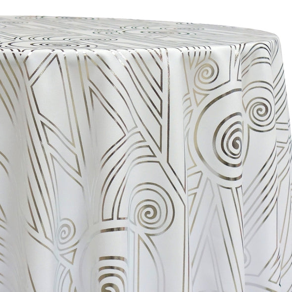 Luxor (Metallic Print) Table Linen in White and Silver