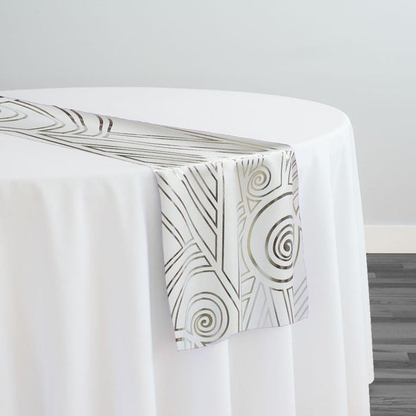 Luxor (Metallic Print) Table Runner in White and Silver