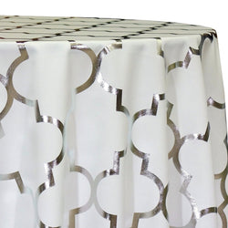 Gatsby (Metallic Print) Table Linen in Silver and White