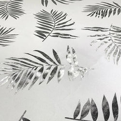 Leaf (Metallic Print) Table Linen in White and Silver