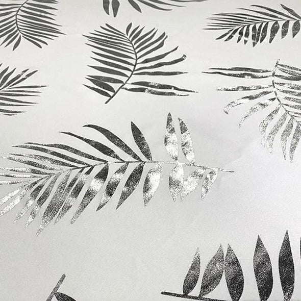 Leaf (Metallic Print) Table Runner in White and Silver
