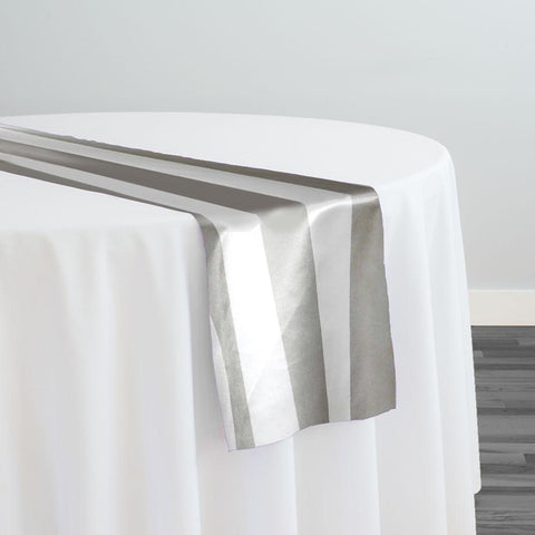 "2"" Satin Stripe Table Runner in White and Silver"
