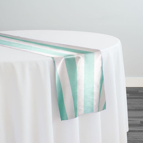 "2"" Satin Stripe Table Runner in White and Tiffany"