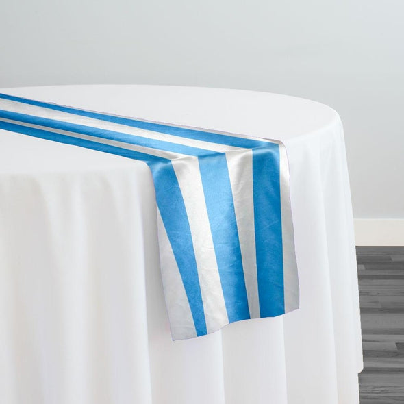 "2"" Satin Stripe Table Runner in White and Turquoise"