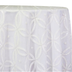 Delano Sequins Table Linen in White and White