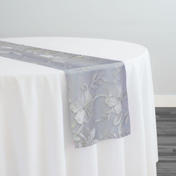 Claire Lace Table Runner in White and White