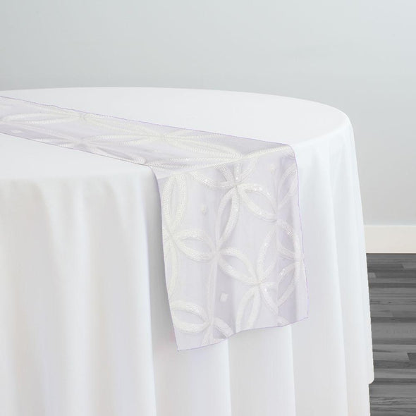 Delano Sequins Table Runner in White