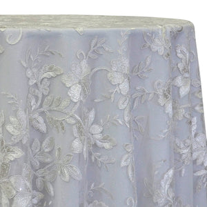 Claire Lace Table Linen in White and White
