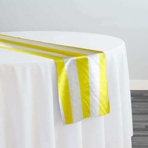 "2"" Satin Stripe Table Runner in White and Yellow"