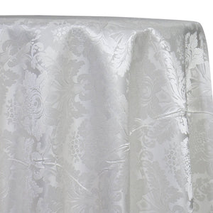Damask Poly Table Linen in White