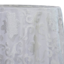 Fleur De Lis Table Linen in White