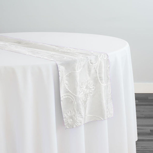 Eyelash Embroidery Table Runner in White