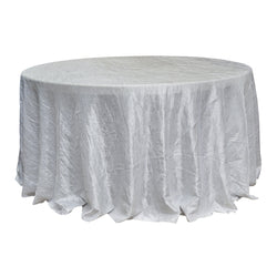 "Economy Crush Taffeta 132"" Round Tablecloth - White"