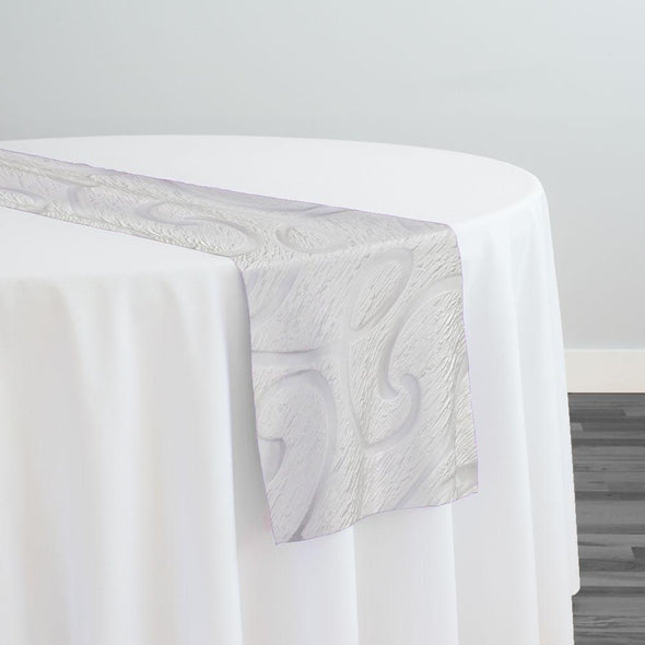 Contempo Scroll Sheer Table Runner in White