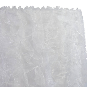 Ruffled Organza Table Linen in White