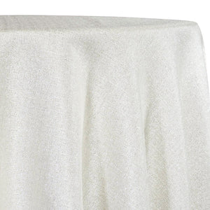 Metallic Burlap (100% Polyester) Table Linen in White