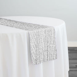 Mini Petals On Mesh Table Runner in White
