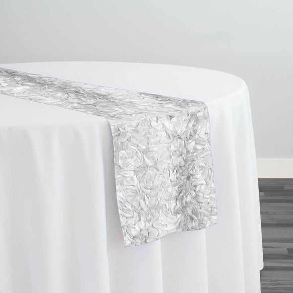 Curly Satin Table Runner in White