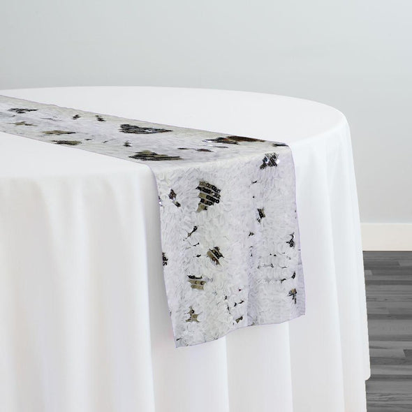 Zenya Sequins Table Runner in White