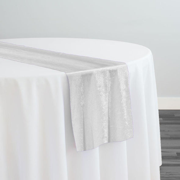 Lush Velvet Table Runner in White