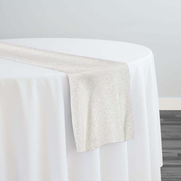 Metallic Burlap (100% Polyester) Table Runner in White