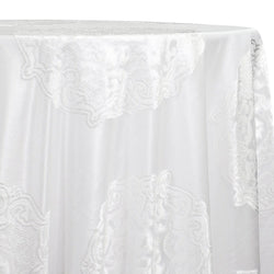 Medallion Jacquard Sheer Table Linen in White