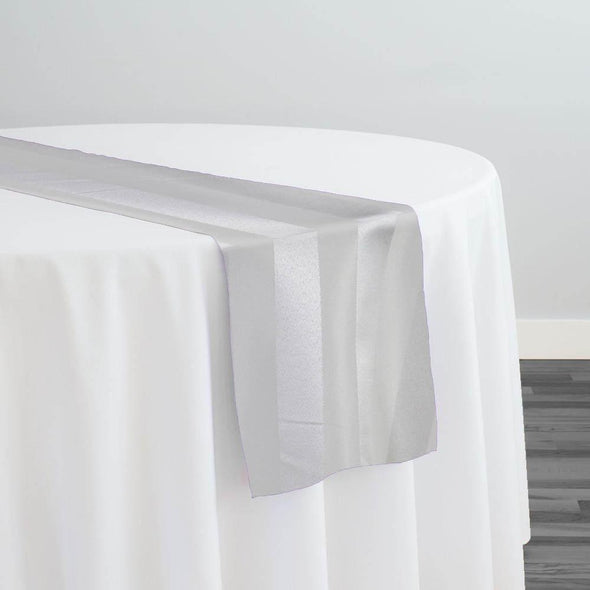 Imperial Stripe Table Runner in White