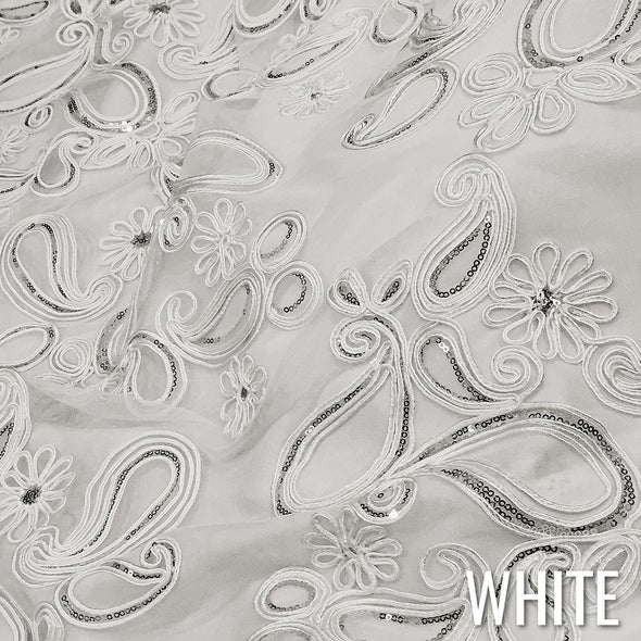 Paisley Floret Sequins Wholesale Fabric in White