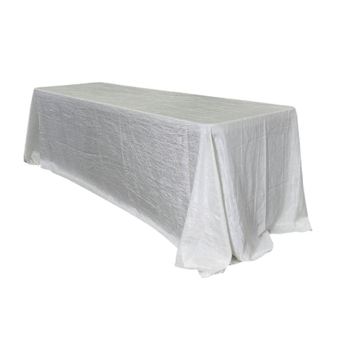 "Economy Crush Taffeta 90""x156"" Rectangular Tablecloth - White"