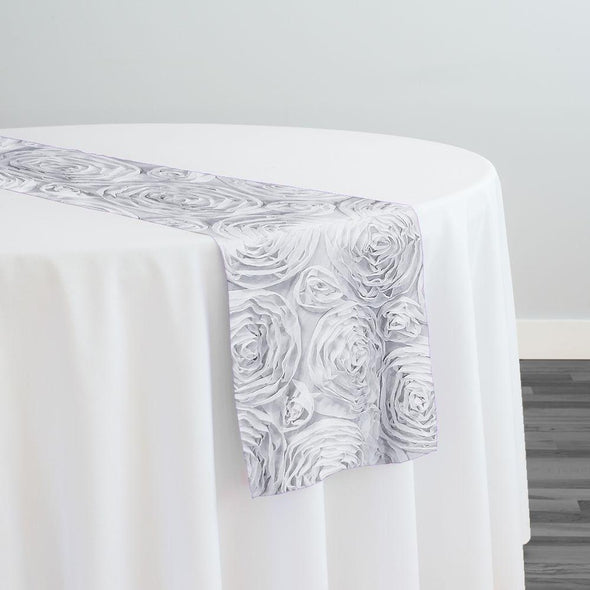Chiffon Rose (3D) Table Runner in White