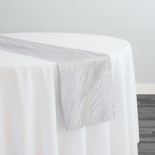 Accordion Taffeta Table Runner in White