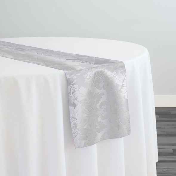 Damask Poly Table Runner in White