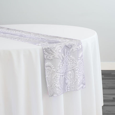Princess Lace Table Runner in White and White