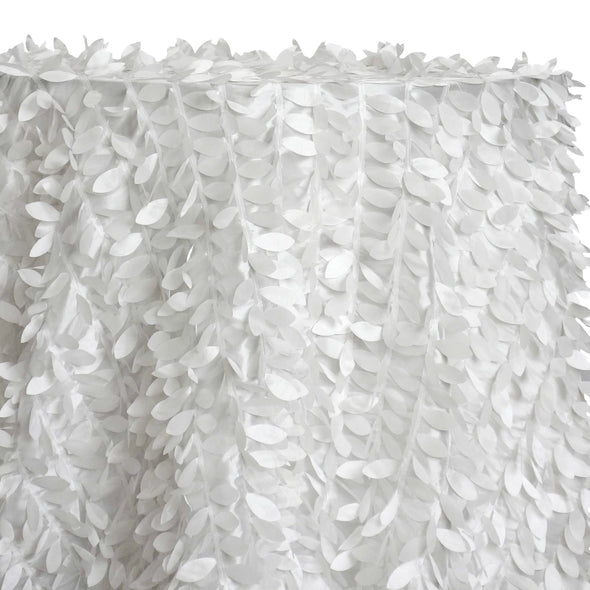 Leaf Hanging Taffeta Table Linen in White