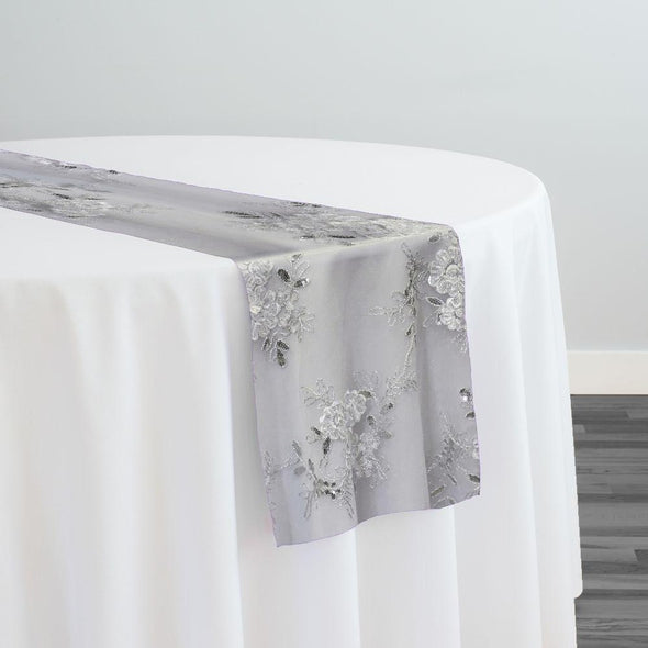 Ribbon Mesh Lace Table Runner in White