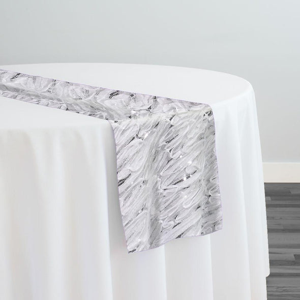 Brilliant Sheer Sequins Table Runner in White