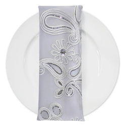 Paisley Floret Sequins (w/ Poly Lining) Table Napkin in White