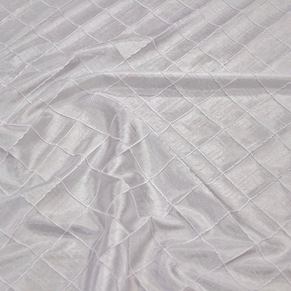 "2"" Pintuck Taffeta Table Runner in White"