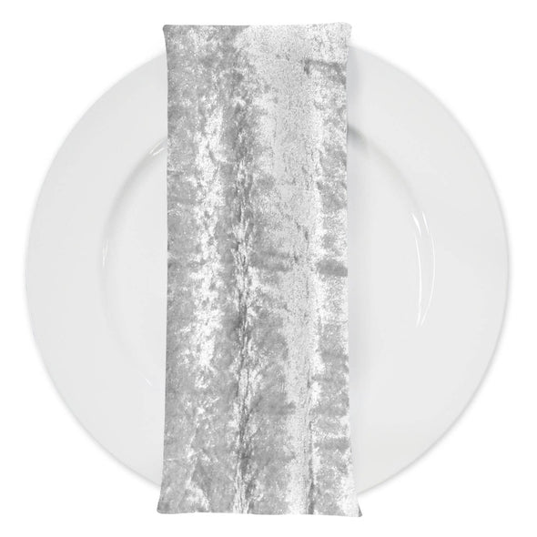 Panne (Crush) Velvet Table Napkin in White