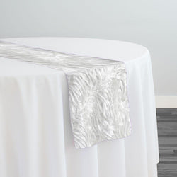 Austrian Wave Satin Table Runner in White