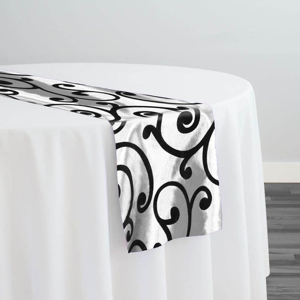 Swirl Flocking Taffeta Table Runner in Black on White