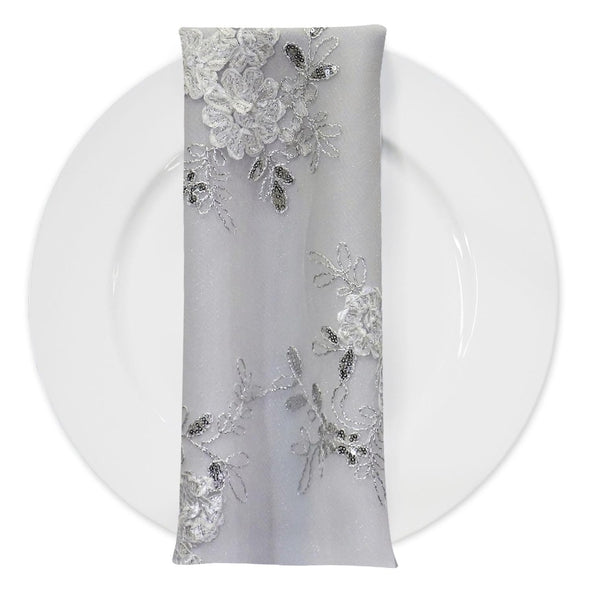 Ribbon Mesh Lace (w/ Poly Lining) Table Napkin in White